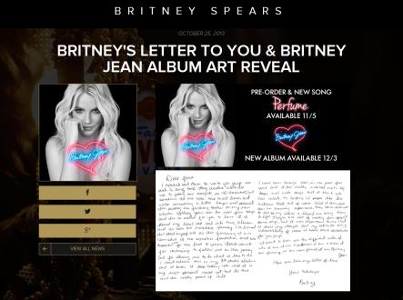 Britney reveal letter