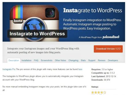 Instagrate to wordpress