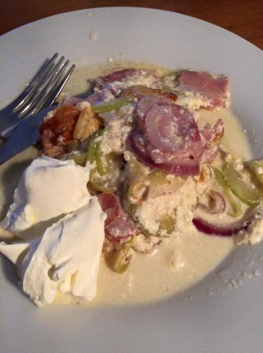 Min bacon och zucchinigratäng