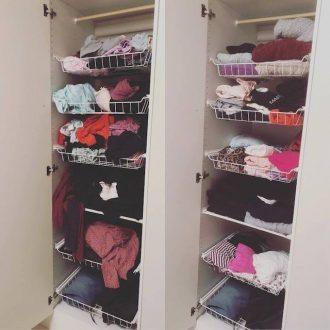 Rensat lite kläder och mer ordning i garderob igen